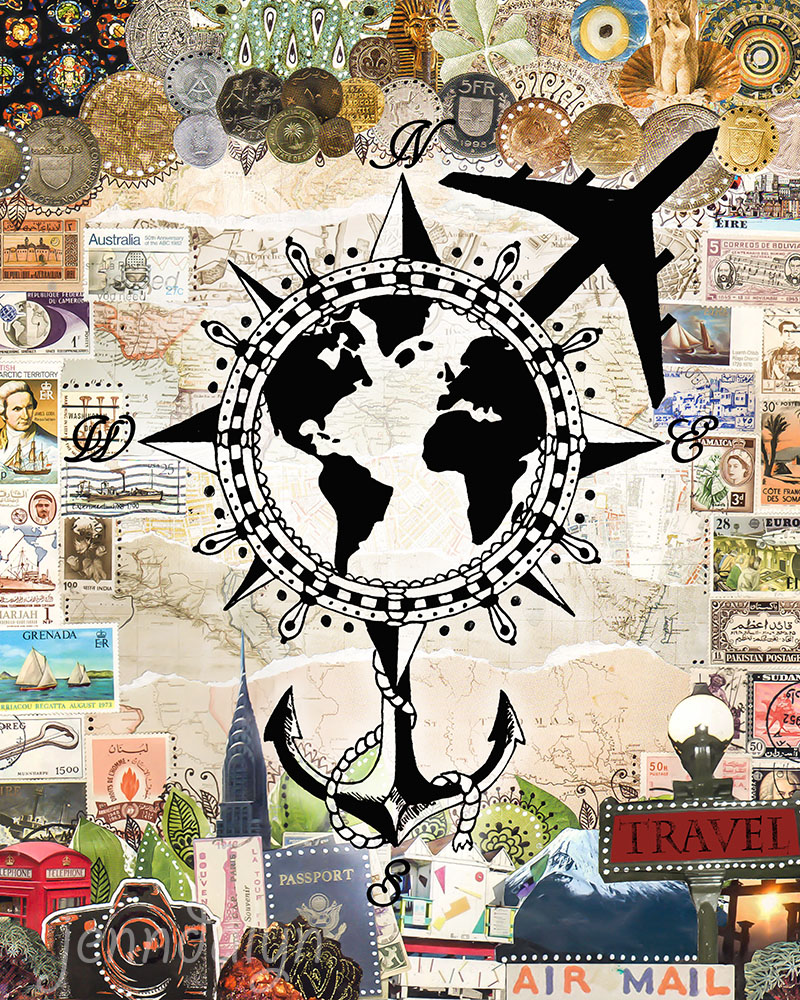 travel art mixed media collage