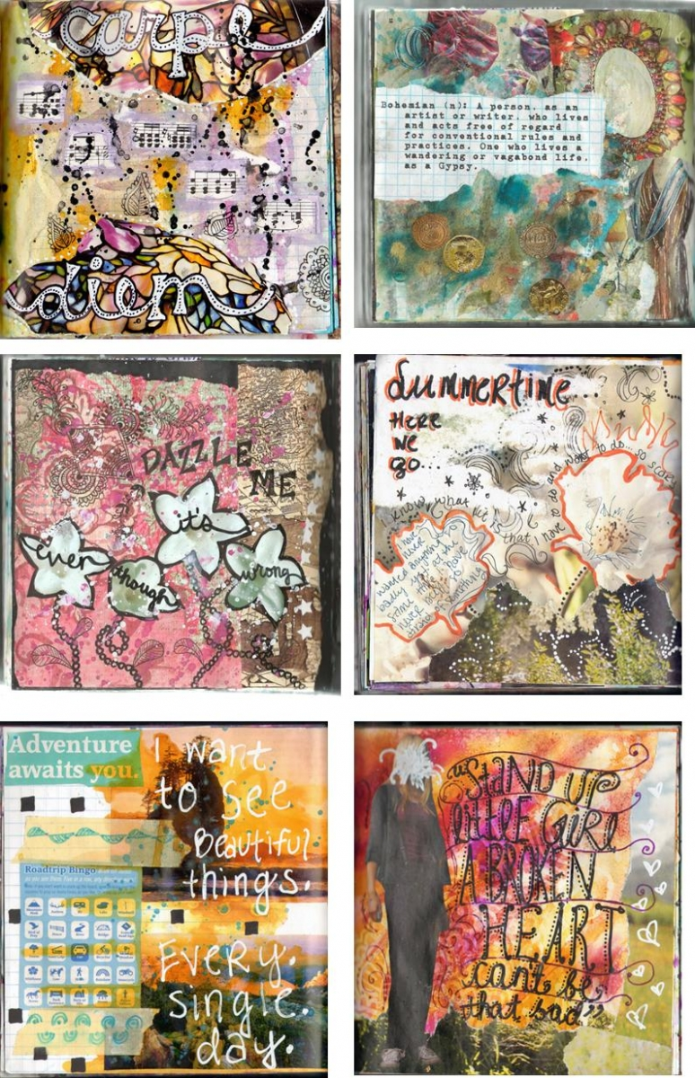 mixed media art journal pages