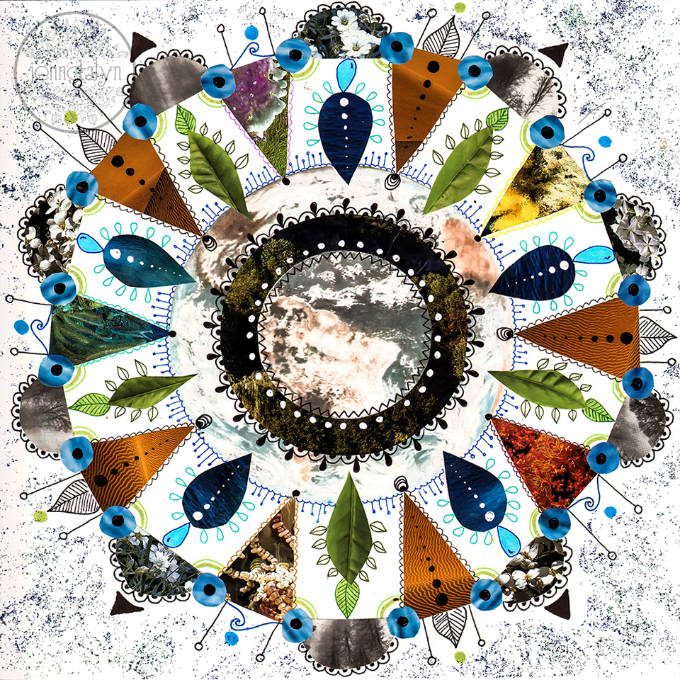 earth mandala mixed media collage