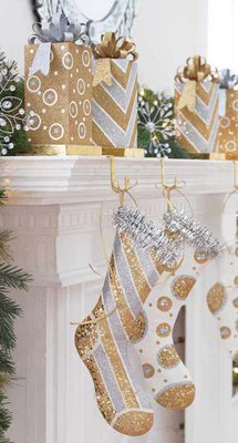 silver and gold christmas stockings