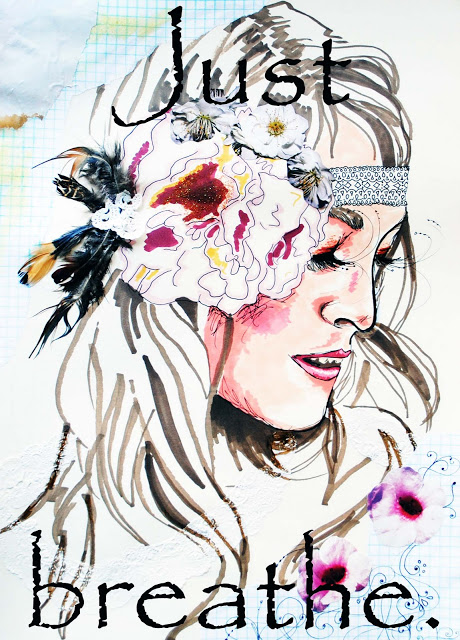 bohemian art mixed media illustration